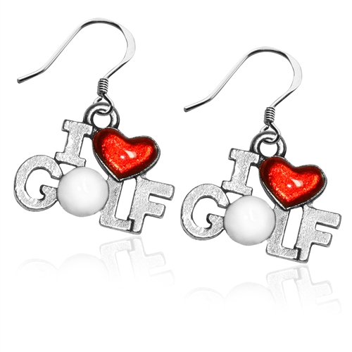 I Love Golf Charm Earrings in Silver