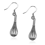Whisk Charm Earrings in Silver