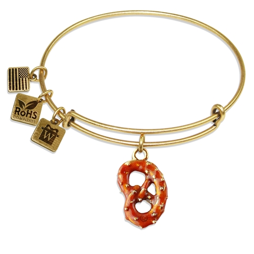 Pretzel Charm Bangle in Gold
