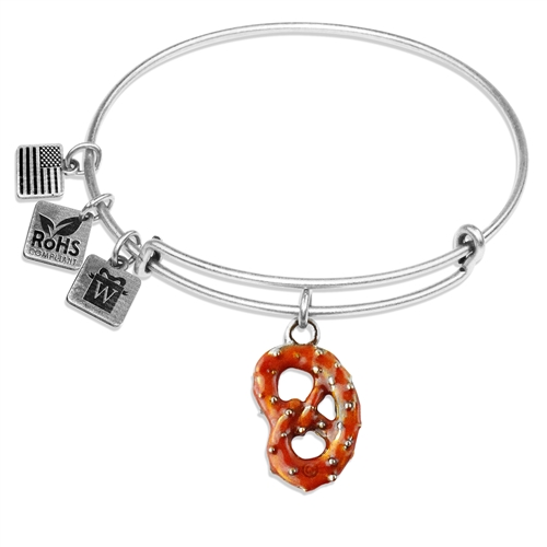 Pretzel Charm Bangle in Silver