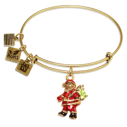 Santa Claus Charm Bangle in Gold