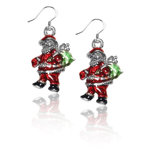Santa Claus Charm Earrings in Silver
