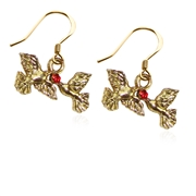 Doves Kissing Charm Earrings in Gold