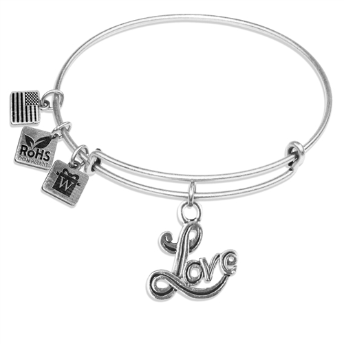 Love Charm Bangle in Silver