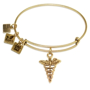 Medical Symbol Charm Bangle in Gold