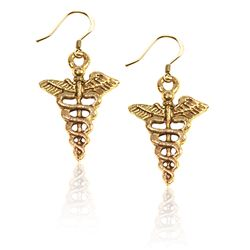 Whimsical Gifts Medical Symbol Charm Earrings in Gold