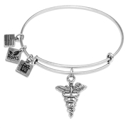 Medical Symbol Charm Bangle in Silver