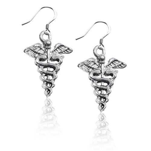 Whimsical Gifts Medical Symbol Charm Earrings in Silver