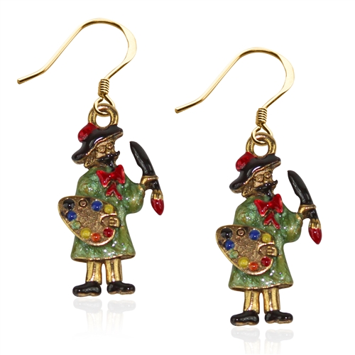 Artist Charm Earrings in Gold