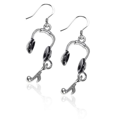 Headphones Charm Earrings in Silver