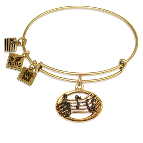Disc with Musical Notes Charm Bangle in Gold