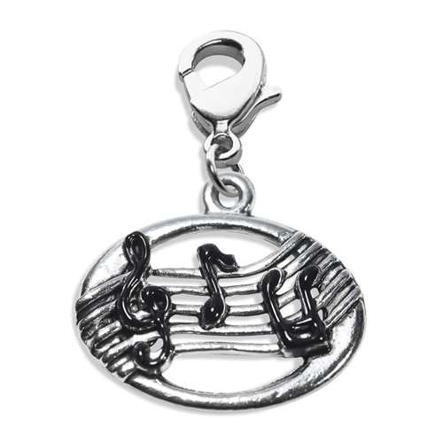 Disc with Musical Notes Charm Dangle