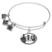 Disc with Musical Notes Charm Bangle in Silver
