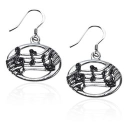 Disc with Musical Notes Charm Earrings in Silver
