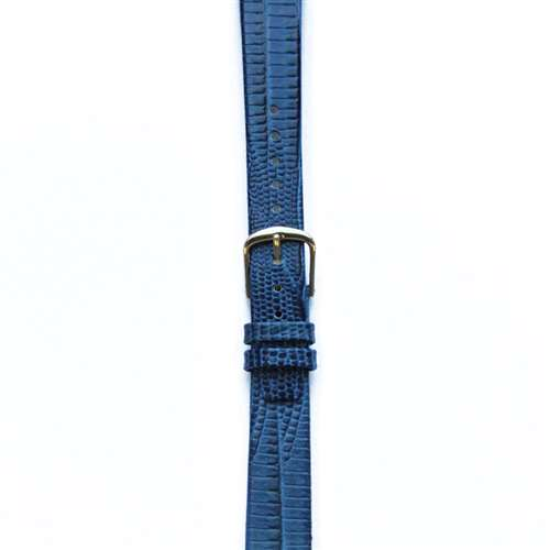 Leather Watchband Large Royal Blue Skin with Gold Clasp