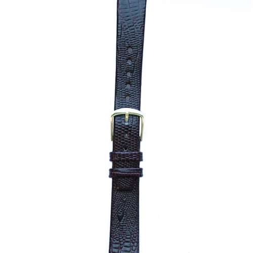 Leather Watchband Large Purple Skin with Gold Clasp