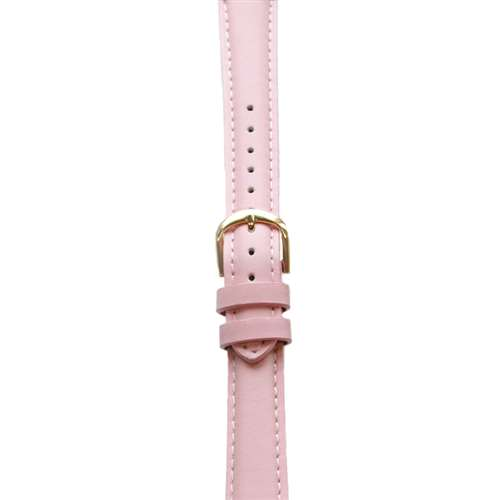 Leather Watchband Large Pink Padded with Gold Clasp