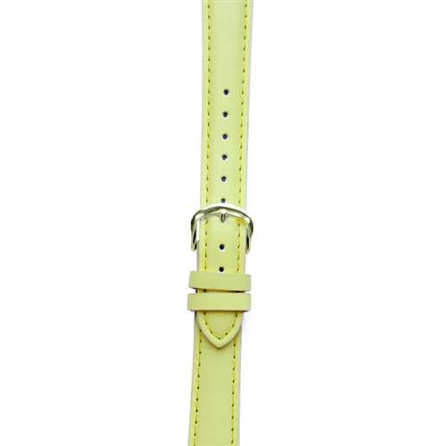 Leather Watchband Large Yellow Padded with Gold Clasp
