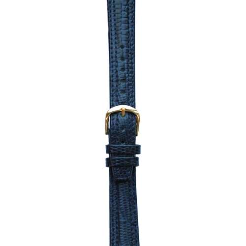 Leather Watchband Large Navy Blue Padded Skin with Gold Clasp