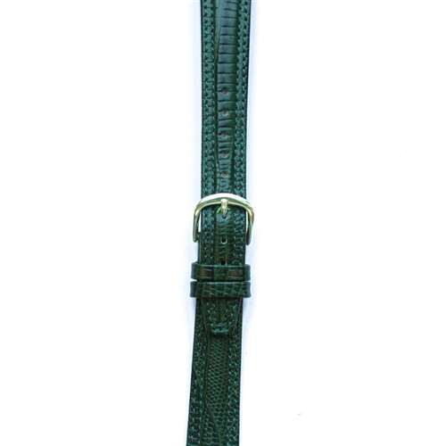 Leather Watchband Large Hunter Green Padded Skin with Gold Clasp