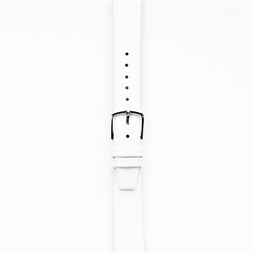 Leather Watchband Large White Skin with Silver Clasp