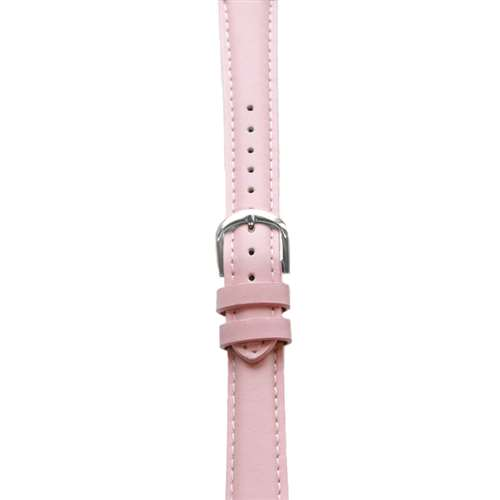 Leather Watchband Large Pink Padded with Silver Clasp