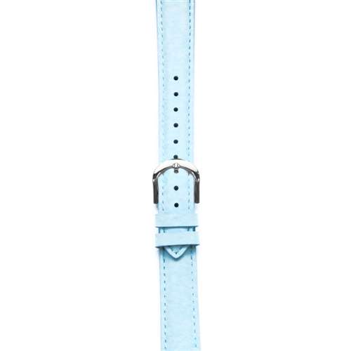 Leather Watchband Large Baby Blue Padded with Silver Clasp