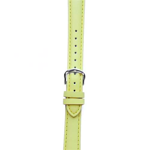 Leather Watchband Large Yellow Padded with Silver Clasp