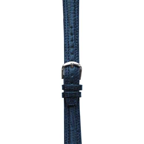 Leather Watchband Large Navy Blue Padded Skin with Silver Clasp