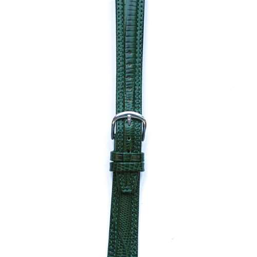 Leather Watchband Large Hunter Green Padded Skin with Silver Clasp