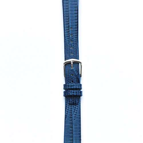 Leather Watchband Large Royal Blue Skin with Silver Clasp