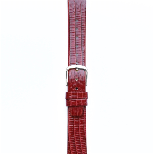 Leather Watchband Large Red Skin with Silver Clasp