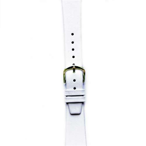 Leather Watchband Small White Gold Buckle