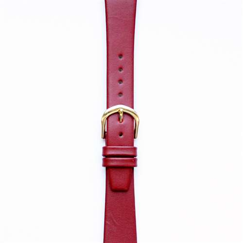 Leather Watchband Small Red Gold Buckle