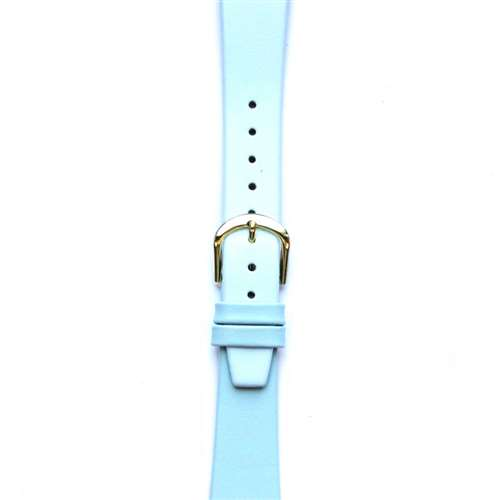 Leather Watchband Small Light Blue Gold Buckle