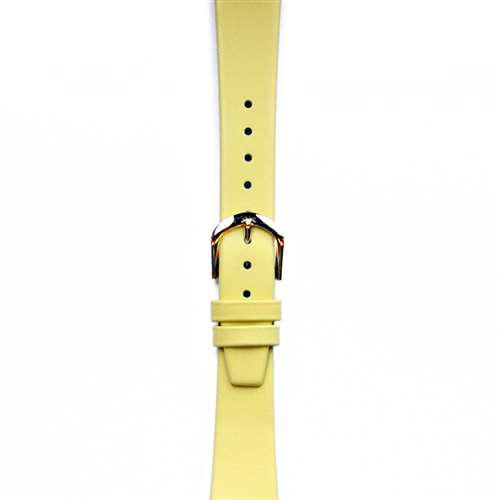 Leather Watchband Small Yellow Gold Buckle