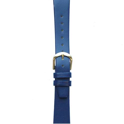 Leather Watchband Small Royal Blue Gold Buckle