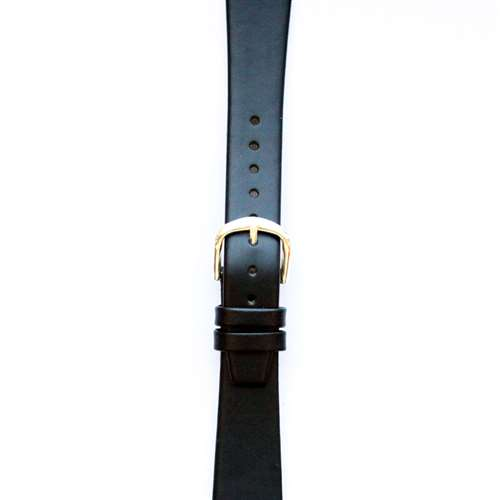 Leather Watchband Small Black Gold Buckle