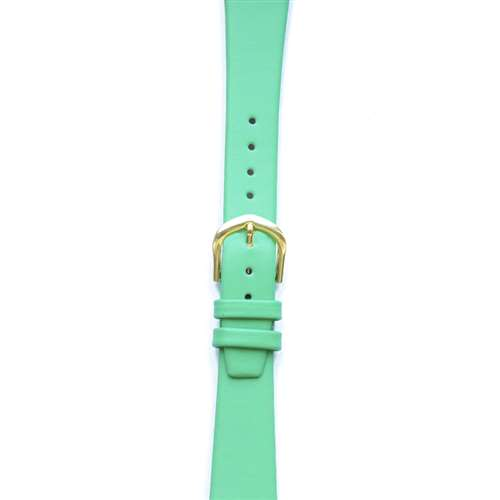 Leather Watchband Small Bright Green Gold Buckle