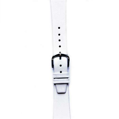 Leather Watchband Small White Silver Buckle