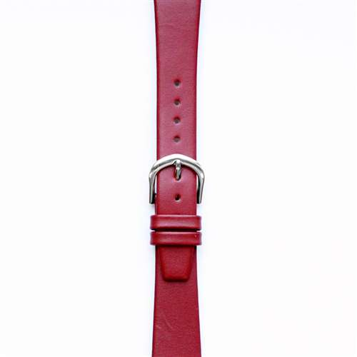 Leather Watchband Small Red with Silver Clasp