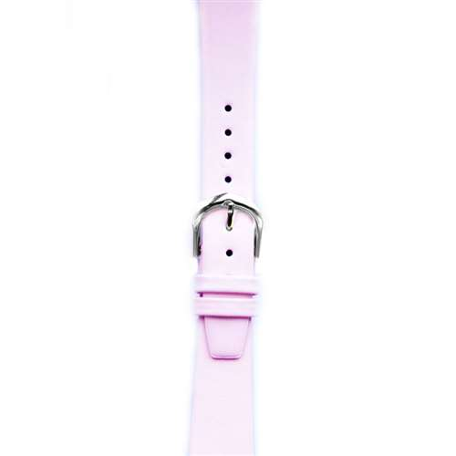 Leather Watchband Small Pink Silver Buckle