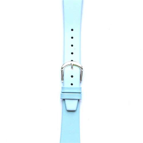 Leather Watchband Small Light Blue Silver Buckle