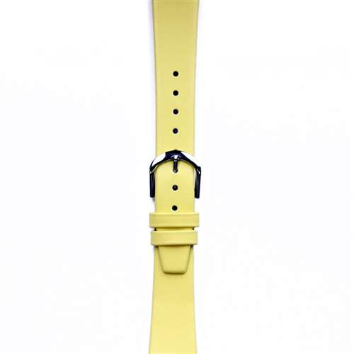 Leather Watchband Small Yellow Silver Buckle