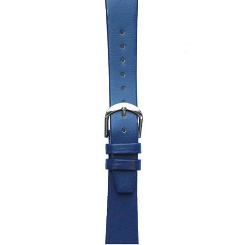 Leather Watchband Small Royal Blue Silver Buckle