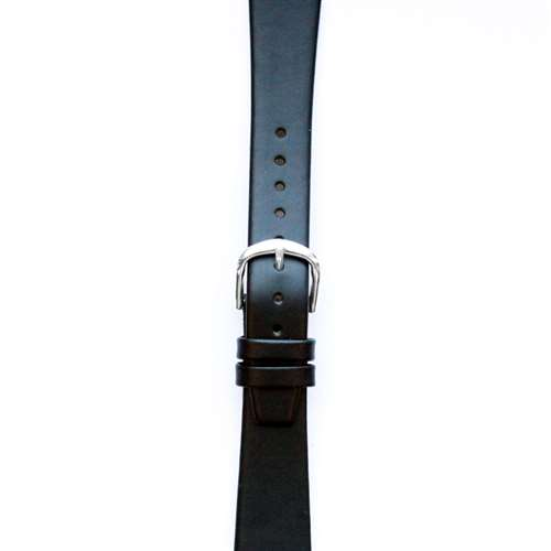 Leather Watchband Small Black Silver Buckle