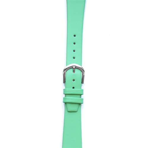 Leather Watchband Small Bright Green Silver Buckle