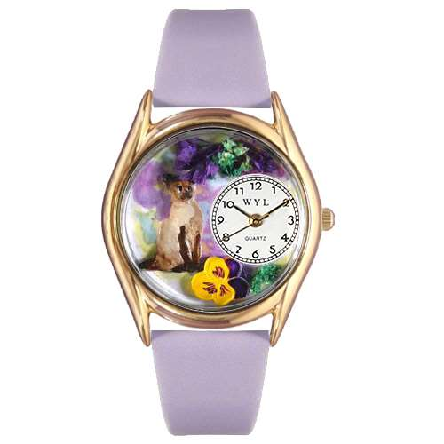Siamese Cat Watch Small Gold Style
