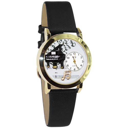 Music Piano Watch Small Gold Style