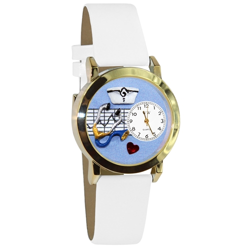 Whimsical Gifts Nurse Blue Watch Small Gold Style